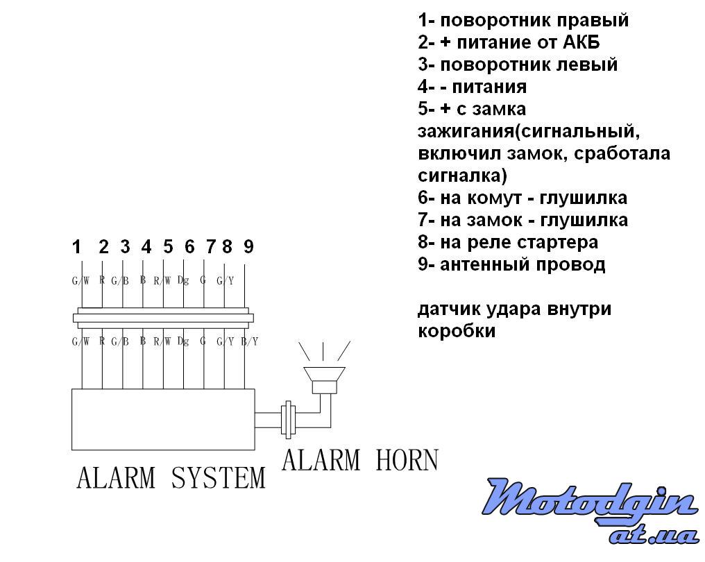 Полноразмерная схема сигнализации скутера.